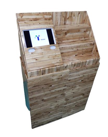 モニター付 紙製ディスプレイ販促什器事例のサムネイル